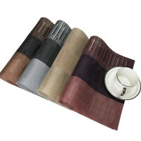 Waterproof Bamboo Pvc Placemat Set Table Mats Dark Brown Kitchen Decor Cover S