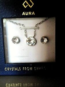 AURA Necklace And Earrings Set SWAROVSKI CRYSTALS New