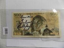 Autographe Johnny HALLYDAY Dédicace HALLYDAY sur Billet 500 Francs + Certificat