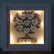Personalised LED LIGHT Box Frame Family tree Scrabble Christmas Gift
