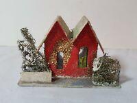 Vintage Christmas Village Decoration Mica Putz Paper Cardboard House Tree Church