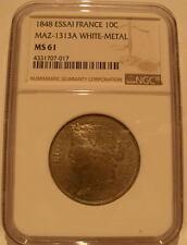 France 1848 10 Centimes NGC MS-61 Essai White - Metal Maz-1313A