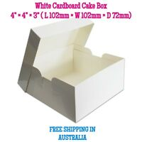 Cake Box 4×4×3 inches White Cardboard - Cake Boxes - Free Postage - High Quality