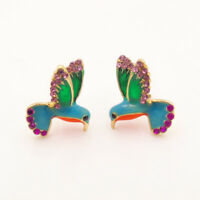 Rhinestone Flying Bird Swallow Hummingbird Animal Ear Studs Earring Boho Jewelry