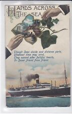 VINTAGE POSTCARD HANDS ACROSS THE SEA. POSTED IN 1912 YEAR THE RMS TITANIC SANK