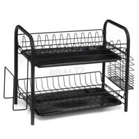 2 Tier Dish Drying Rack Drainer Holder Kitchen Storage Space Stainless Steel