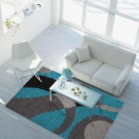 Teppich Hochflor Designer Modern City Shaggy Blasen türkis grau versch Größen