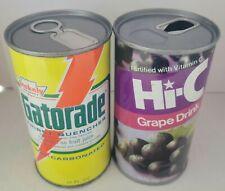 2 Vintage Steel Juice Tab Cans. Gatorade & Hi-C Grape.