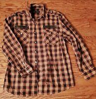 Taikun Men's Brown Plaid/pleather accents Button Front Long Sleeve Shirt Size XL