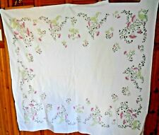 """New listing Vintage Dark & Light Pink Thistles w/Leaves on White Tablecloth 58"""" x 52"""""""