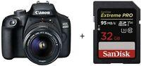 EOS 4000D DSLR EF-S 18-55 mm f/3.5-5.6 III Lens + 32G SD Card/ Stock in UK