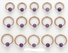 2 PIECE 16g Amethyst Stone Captive Bead Ear Tragus Ring 4MM Bead Rose Gold IP