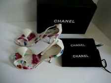 CHANEL CAMELIA CC LOGO SHOES 38 1/2 NEW WITH BOX