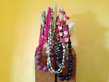 Job mix lot vintage retro look pink purple pearl shell costume beaded necklaces
