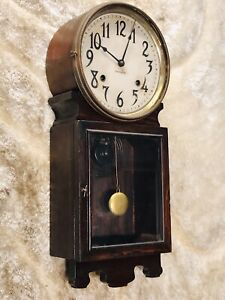 UNUSUAL RARE Antique USA Ingraham Striking wall Clock,Walnut Case & Pendulum
