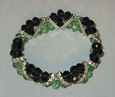 Blue Green Stretchy Bracelet Triangle Beads Crystals Seattle Seahawk Colors New