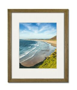 16X20 Driftwood Coastal Wood Picture Frame with Single White Mat for 12x16