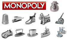 Monopoly Replacement Metal Tokens Movers 11 pieces (10 plus Money Bag) set