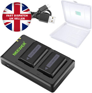 Neewer NP-FW50 Camera Battery Charger Set With Case for Sony 1100mAh 2 Batteries