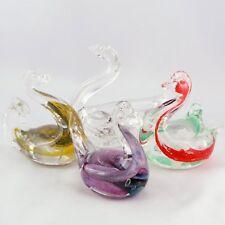 Vintage(x4) CYGNES Verre MAURE VIEIL Mandelieu Glass Design 70' novaro/murano...