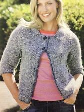 Lady's Casual Tweed Effect Jacket Aran KNITTING PATTERN - Sizes 8-30