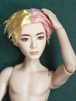 """Mattel Asian Ken Doll Blonde & Pink Hair """"V"""" K-Pop BTS Articulated Nude for OOAK"""
