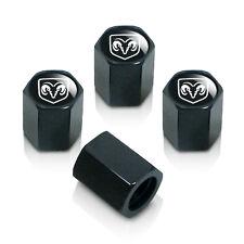 Dodge RAM Silver Logo Black Tire Stem Valve Caps