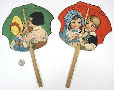 Lot of 2 Vintage Advertisement Fans - Hand Held Cardboard Fan on a stick - Ford