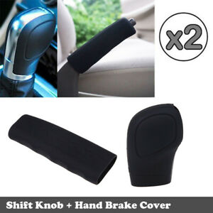 2X/SET Black Car Gear Stick Shift Knob+Hand Brake Cover Universal Sleeve Shifter