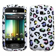 For LG Thrive Hard Protector Case Snap on Cover White Rainbow Leopard