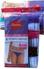 Hanes Women's Cotton Sporty String Bikini Panty (Pack of 6)  NEW  PP42SC