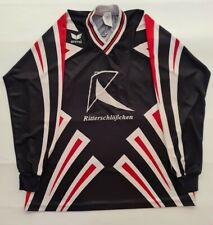 More details for erima vintage men football shirt top long sleeve black print number 6 vneck l/xl