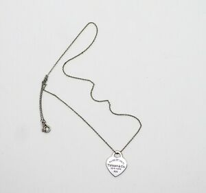 Please Return To Tiffany & Co Sterling Silver Heart Pendant Necklace 3.4g **KNOT