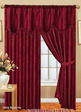 Ready Made Fully Lined Pencil Pleat Malta Jacquard Curtains (Pelmet & Tie Back)