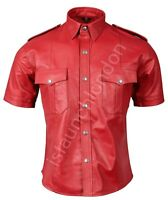 Mens HOT Genuine Real RED Sheep Leather Police Uniform Shirt BLUF Gay All Sizes
