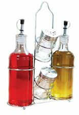 Palais Glassware 5 Piece Oil, Vinegar,Salt and Pepper Cruet Set with a Caddy.