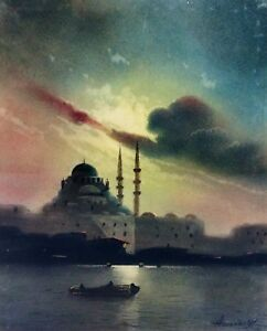 THE MOSQUE BENDJAMI. HORN OF GOLD. PASTEL. AZAROV (G?). TURKEY(?). END XIXTH