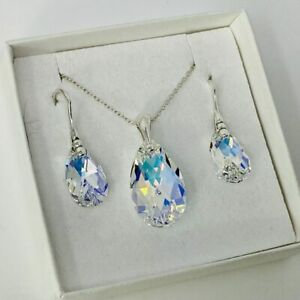 925 Silver Pear Pendant Necklace Earring Set AB  Made With Swarovski® Crystals