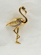 Flamingo-Brosche in 333 Gold mit Diamant