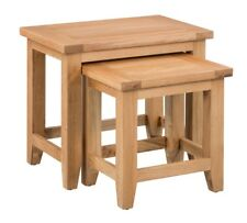 Large Oak Nest Of 2 Coffee Tables | Wooden Side/End/Lamp Nesting Set
