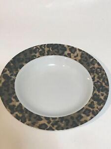 "4 Vintage Tienshan Fine China 8 1/2"" Rimmed Soup Bowls Leopard pattern Excellent"