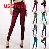 Women Denim Look Leggings Jeans Jeggings Elsastic Skinny Full Length Pants US