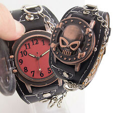Steampunk Skull Cover Wristbands Gothic Punk Biker Quartz Wrist Watch Exquisite