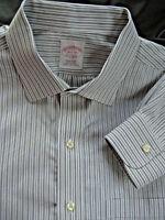 BROOKS BROTHERS 16.5 x 34 gray pinstripe Spread collar DRESS SHIRT