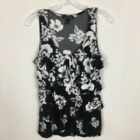 White House Black Market Stretch Knit Top ~ M ~ Black with White Floral Print