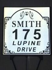 Reflective White & Black Vintage Top Yard Address Sign | Yard Sign | House
