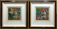 "Luis Sottil ""Little Colors Of the Sea"" 2 piece set Hand Signed with Custom Frame"