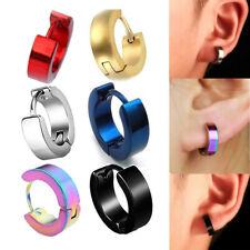 Mens Womens Steel Circle Huggie Hinged Hoop Earrings with Vintage Cobra Snake Hook Gothic