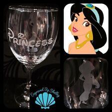 Personalised Disney Princess Jasmine Wine Glass Handmade & Free Name Engraving!