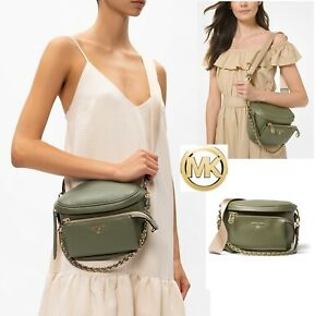 Michael Kors Slater Sling Pack Leather Messenger in Army Green and Goldtone, NWT